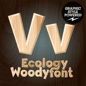Vector font set of wood ecology font. Letter V