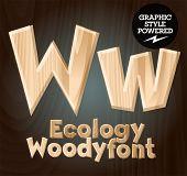 Vector font set of wood ecology font. Letter W