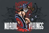 Viking norseman mascot cartoon with bludgeon and shield