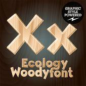 Vector font set of wood ecology font. Letter X