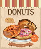 foto of donut  - Vintage donuts poster with label - JPG