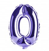 Purple Chrome balloon font part of full set of numbers, number zero, 0