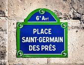 Place Saint-Germain des Pres street sign in Paris, France