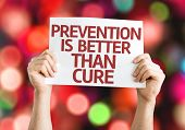 Prevention is Better than Cure card with colorful background with defocused lights