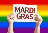 Mardi Gras card with rainbow flag background