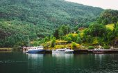 Sognefjord port in Flam, Norway, Norwegian longest and deepest f