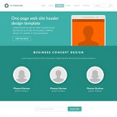 Website Template Landing One Page Header Flat Design and Icons. 960 grid system vector illustration.