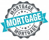 Mortgage Vintage Turquoise Seal Isolated On White