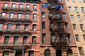West Manhattan buildings facades in New York city US