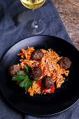 Cooking, food. Meatballs on a dish
