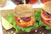 Colorful Healthy Delicious Prawn Burgers