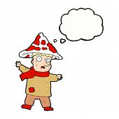 picture of magical-mushroom  - cartoon magical mushroom man with thought bubble - JPG