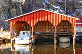 Wooden Garage For Three Boats, Painted Red