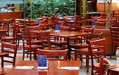Many empty chairs in a restaurant concepts poor business