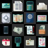 Office Workspace And Finance Flat Icons