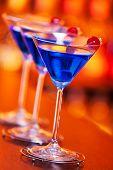 Blue martini cocktails