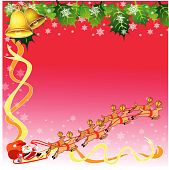 Santa and reindeer with christmas theme background