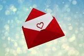 Love letter against blue abstract light spot design