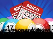 Bingo Balls Cards And Crowd On Blue Background