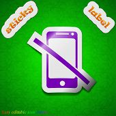 Do Not Call Icon Sign. Symbol Chic Colored Sticky Label On Green Background. Vector