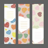 Set of Romantic vertical banners. Hearts ornament. Vector Illustration. Valentine's Day series.