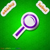 Magnifier Glass, Zoom Search Icon Sign. Symbol Chic Colored Sticky Label On Green Background. Vector
