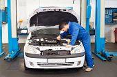 picture of hoods  - Mechanic examining under hood of car at the repair garage - JPG