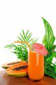 foto of papaya fruit  - papaya fruit and glass of juice and exotic leaves - JPG