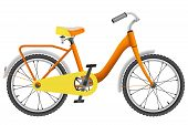 Realistic orange childrens bike for boys