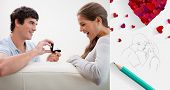 stock photo of propose  - Man making a proposal to his girlfriend against sketch of kissing couple with pencil - JPG