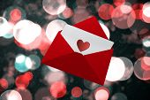 Love letter against digitally generated twinkling light design
