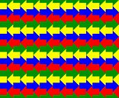 Green, yellow, blue and red arrows pointing to opposite directions, a seamless pattern