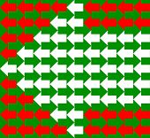 White, green and red arrows pointing to opposite directions, with smaller ones shaping bigger ones, a seamless pattern