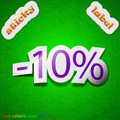 10 Percent Discount Icon Sign. Symbol Chic Colored Sticky Label On Green Background. Vector