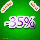 35 Percent Discount Icon Sign. Symbol Chic Colored Sticky Label On Green Background. Vector