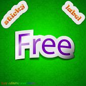 Free Icon Sign. Symbol Chic Colored Sticky Label On Green Background. Vector