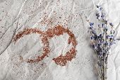 Traces of cocoa and sugar with dried flowers on crumpled sheet of paper background