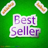 Best Seller Icon Sign. Symbol Chic Colored Sticky Label On Green Background. Vector