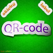 Qr Code Icon Sign. Symbol Chic Colored Sticky Label On Green Background. Vector