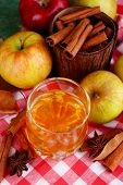 stock photo of cider apples  - Composition of  apple cider in glass with cinnamon sticks - JPG