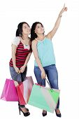 Girls With Shopping Bags Looking Copyspace
