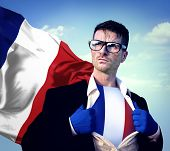 Superhero Businessman French Cloudscape Concept