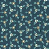 Cartoon Flowers On A Dark Blue Background
