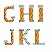 Colorful alphabet letters g,h, i, j, k, l