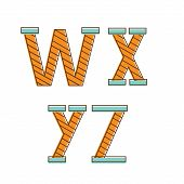 Colorful alphabet letters w,x,y,z