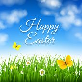 Easter Background With Grass With Gradient Mesh, Vector Illustration