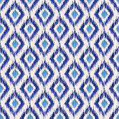 Blue traditional ikat seamless pattern