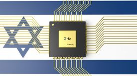 pic of cpu  - Computer CPU with flag of Israel background - JPG