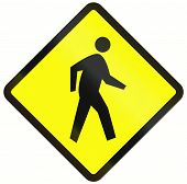 pic of pedestrian crossing  - Indonesian road warning sign  - JPG