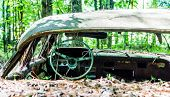 pic of wrecking  - An old wrecked car in the woods with glass broken out - JPG